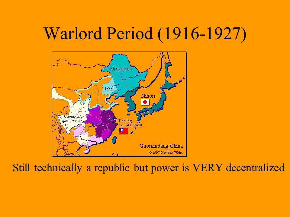 Warlord Period (1916-1927) but the warlords in charge of various provinces are strong.