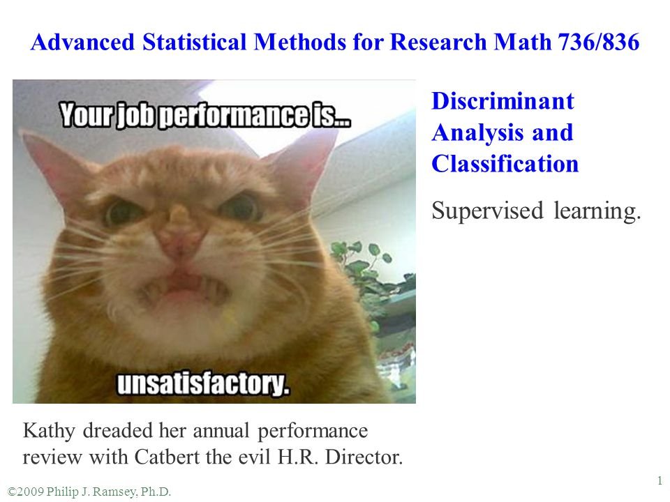 Advanced Statistical Methods for Research Math 736/836