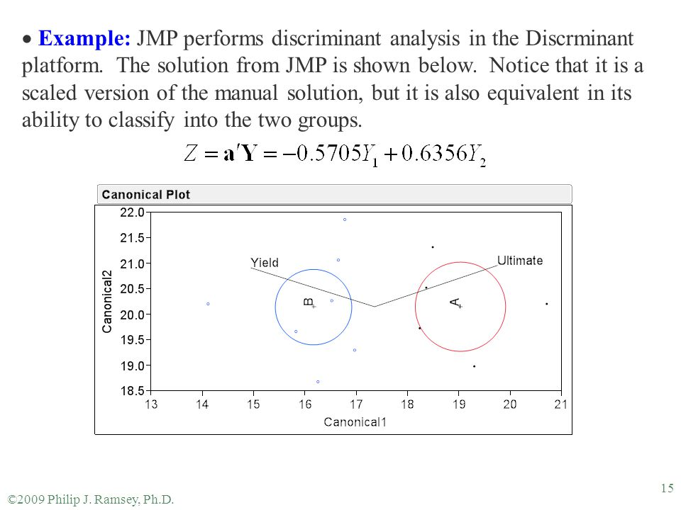 Example: JMP performs discriminant analysis in the Discrminant platform. The solution from JMP is shown below. Notice that it is a scaled version of the manual solution, but it is also equivalent in its ability to classify into the two groups.