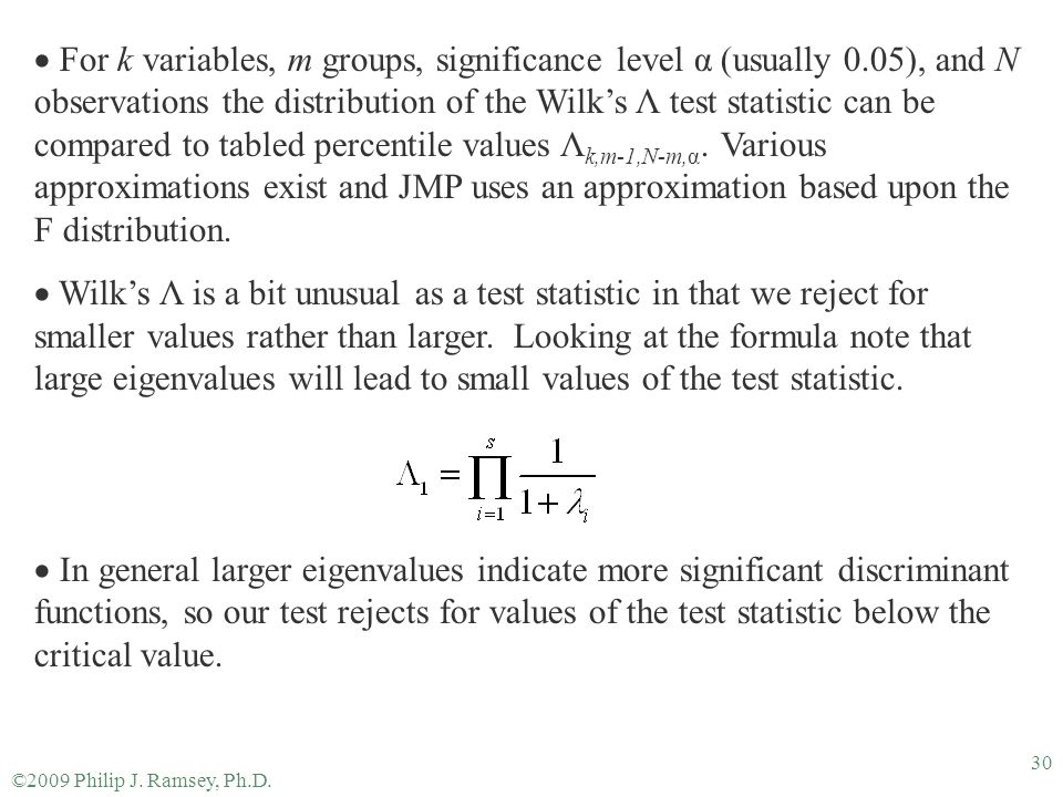For k variables, m groups, significance level α (usually 0