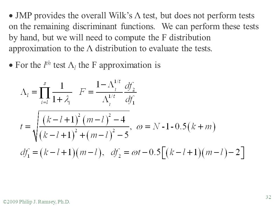 For the lth test Λl the F approximation is