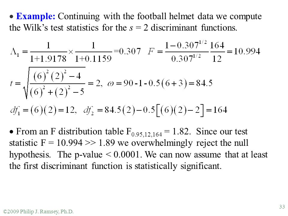Example: Continuing with the football helmet data we compute the Wilk's test statistics for the s = 2 discriminant functions.