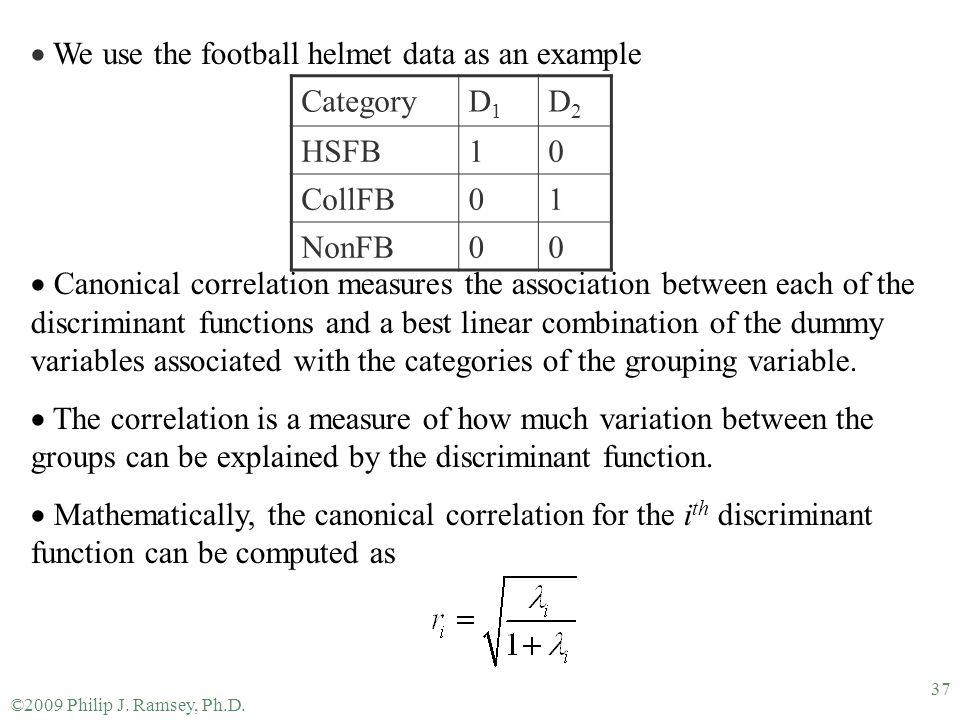 We use the football helmet data as an example