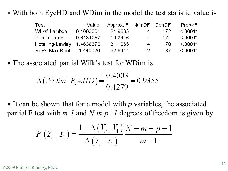 With both EyeHD and WDim in the model the test statistic value is