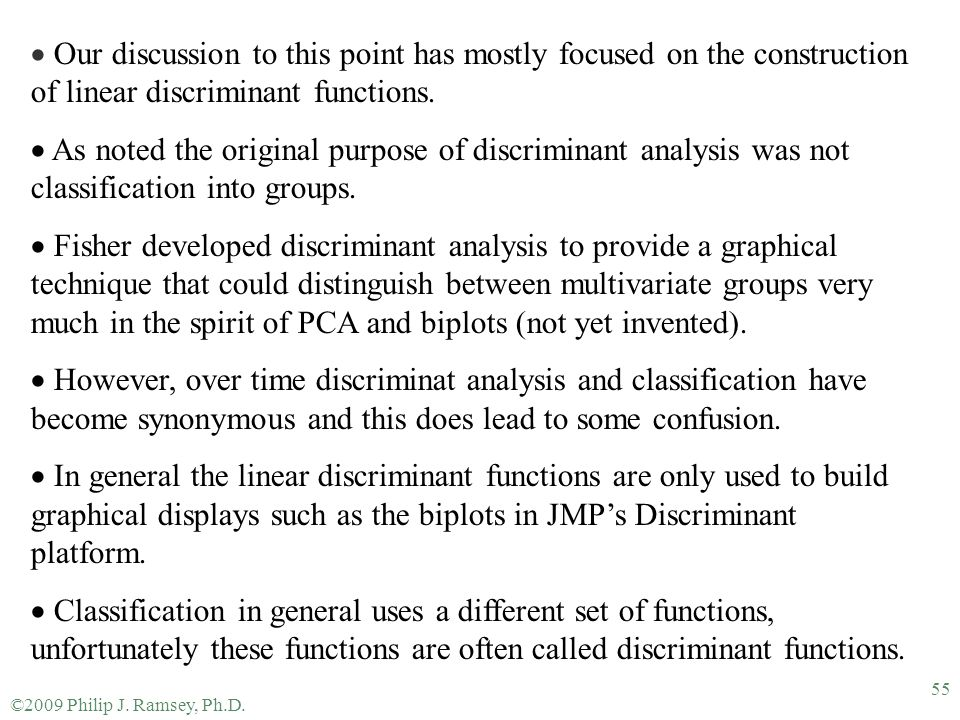 Our discussion to this point has mostly focused on the construction of linear discriminant functions.