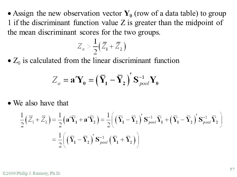 Z0 is calculated from the linear discriminant function