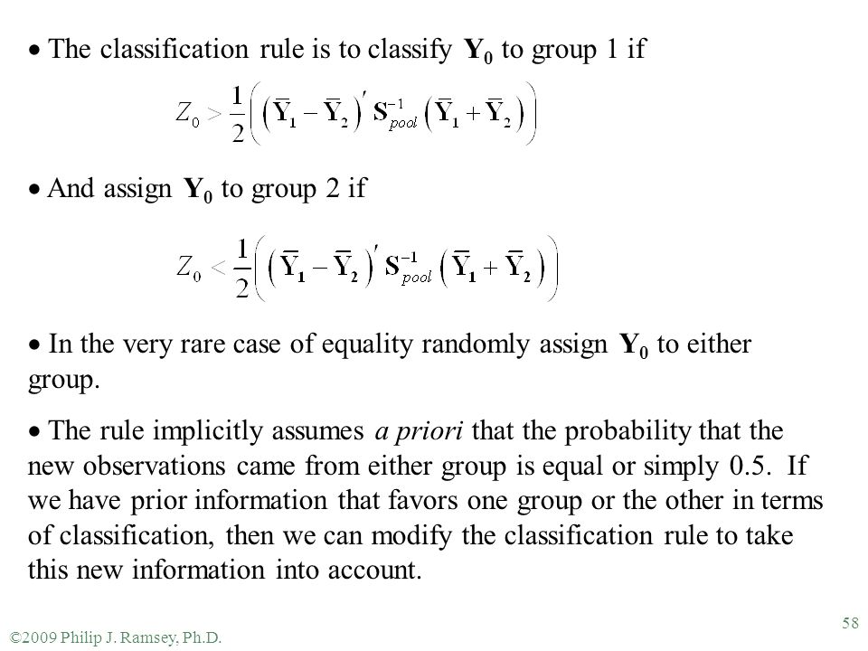 The classification rule is to classify Y0 to group 1 if