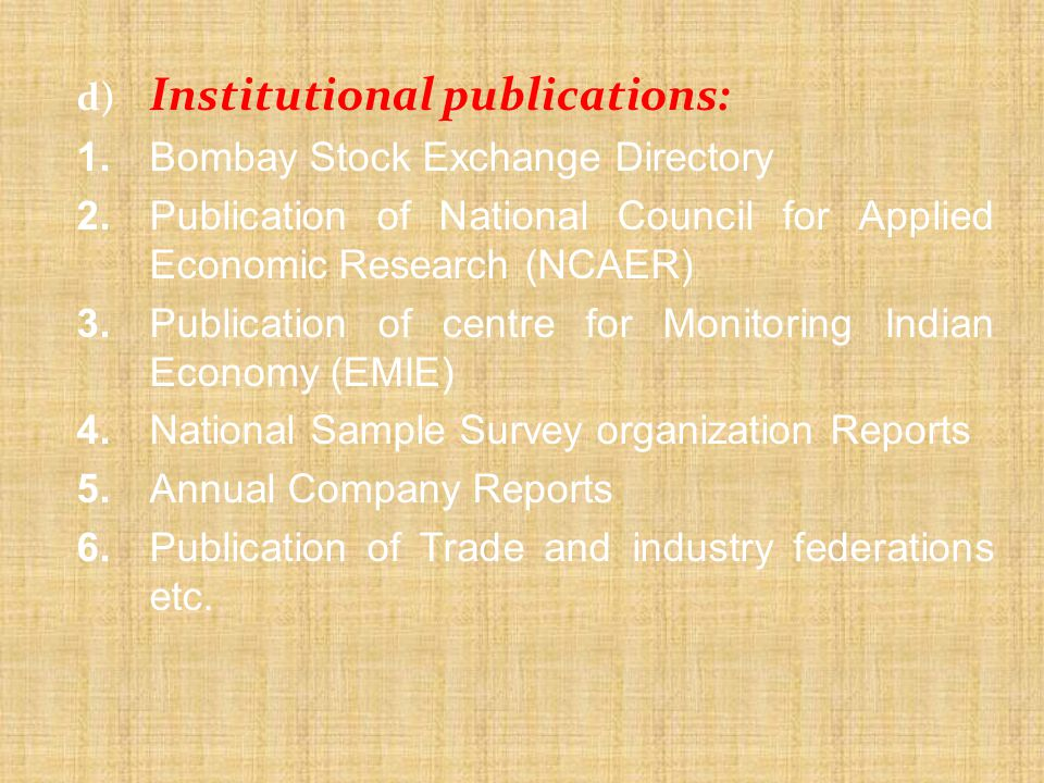 3. Publication of centre for Monitoring Indian Economy (EMIE)