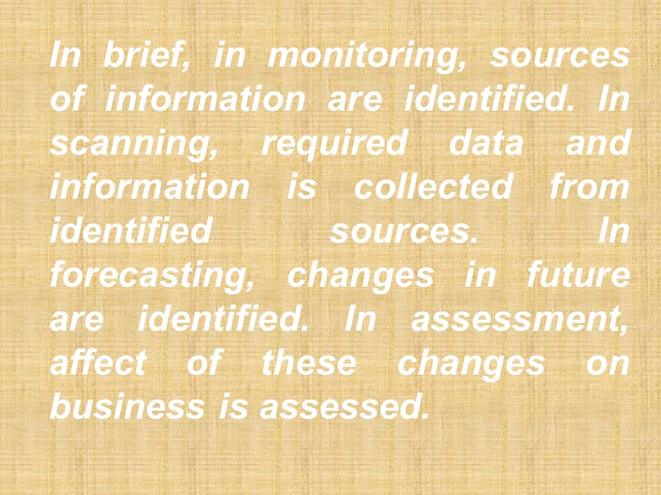 In brief, in monitoring, sources of information are identified