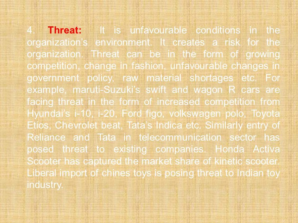 4. Threat: It is unfavourable conditions in the organization's environment.