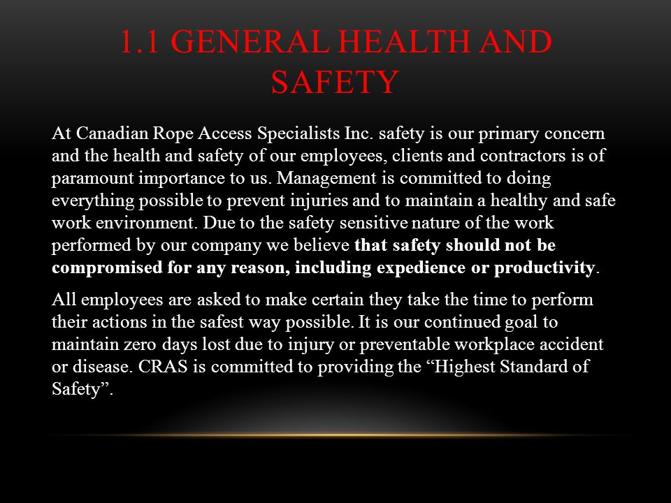 1.1 General Health and Safety