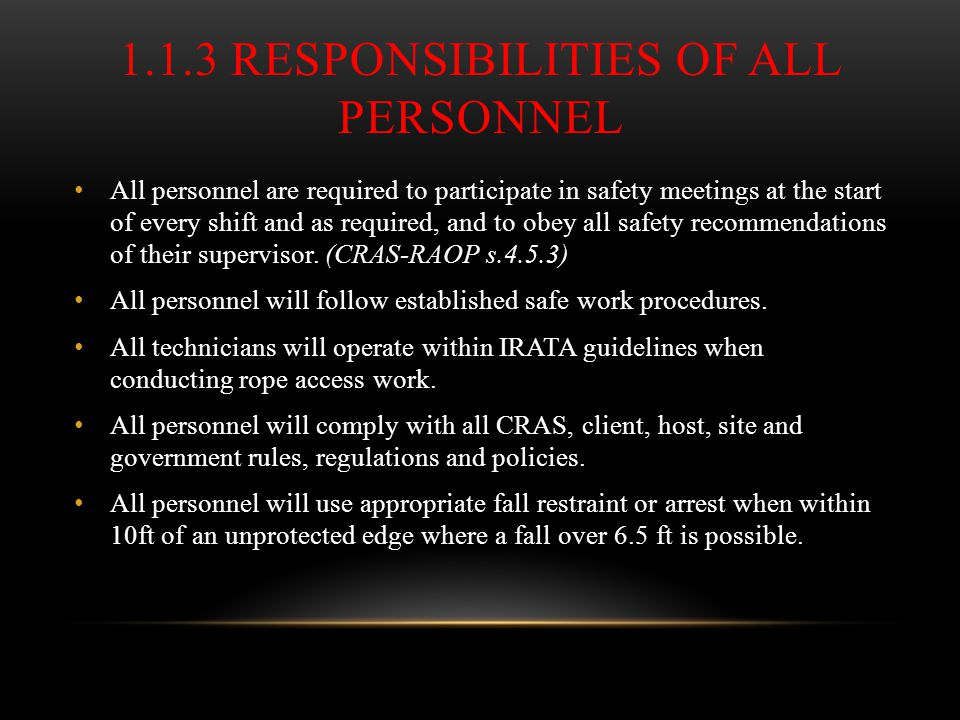 1.1.3 Responsibilities of all personnel