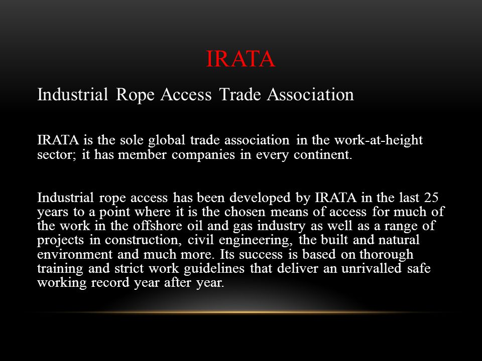IRATA Industrial Rope Access Trade Association