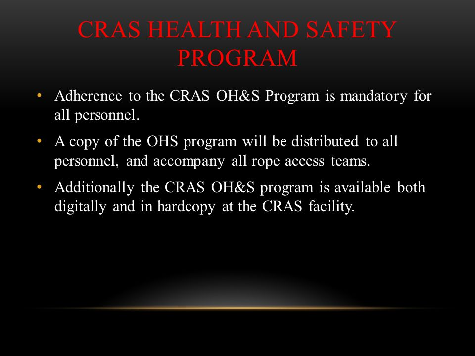 CRAS Health and Safety Program