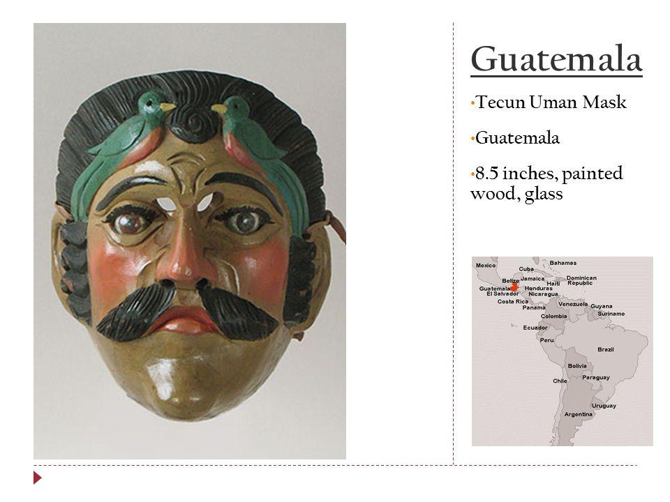 Guatemala Tecun Uman Mask Guatemala 8.5 inches, painted wood, glass