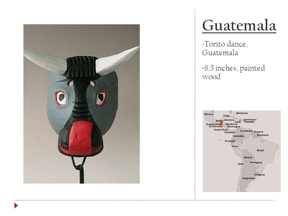 Guatemala Torito dance, Guatemala 8.5 inches, painted wood
