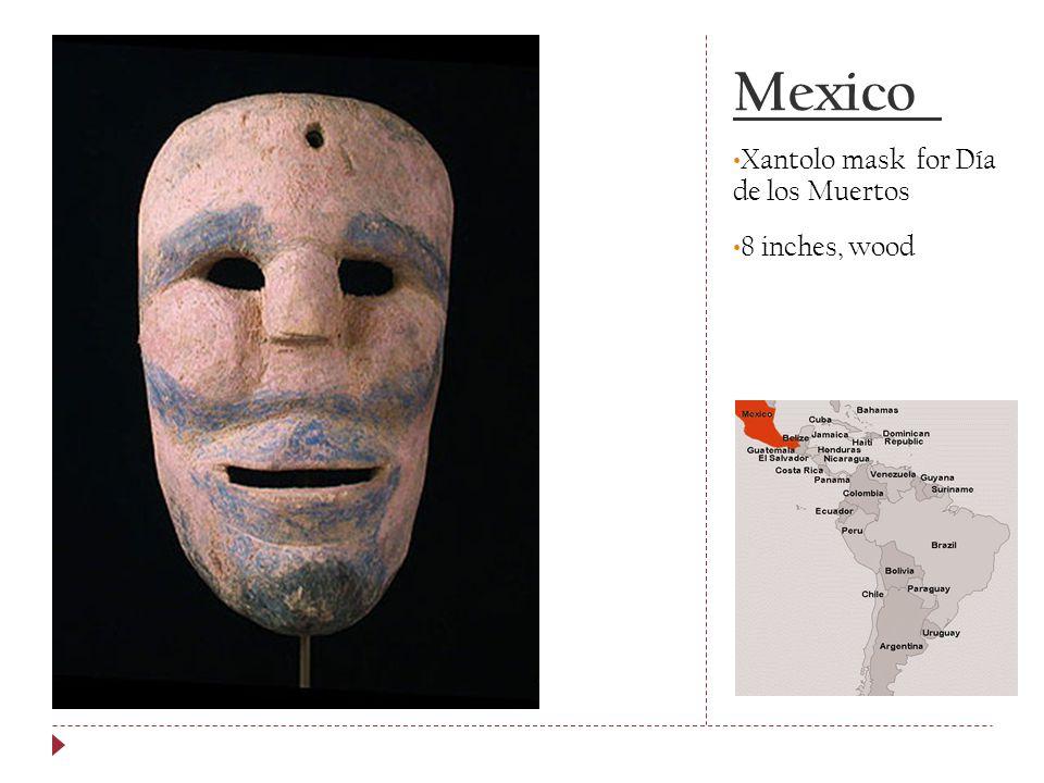 Mexico Xantolo mask for Día de los Muertos 8 inches, wood
