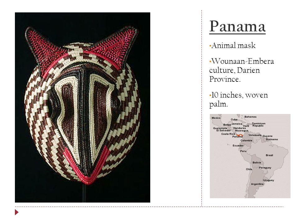 Panama Animal mask Wounaan-Embera culture, Darien Province.