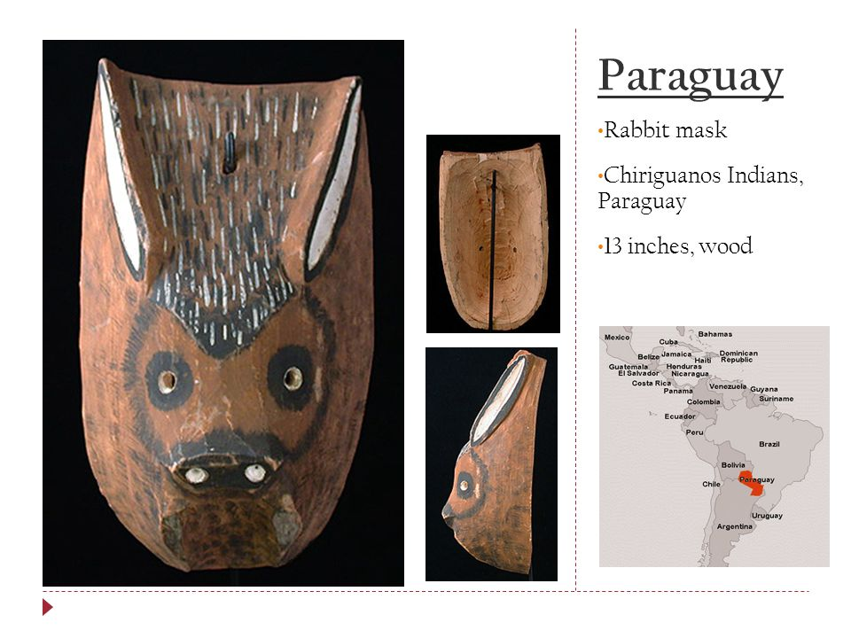 Paraguay Rabbit mask Chiriguanos Indians, Paraguay 13 inches, wood