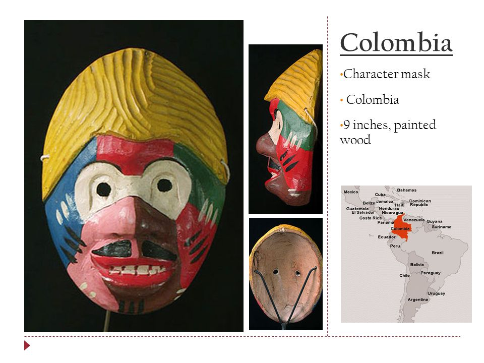 Colombia Character mask Colombia 9 inches, painted wood
