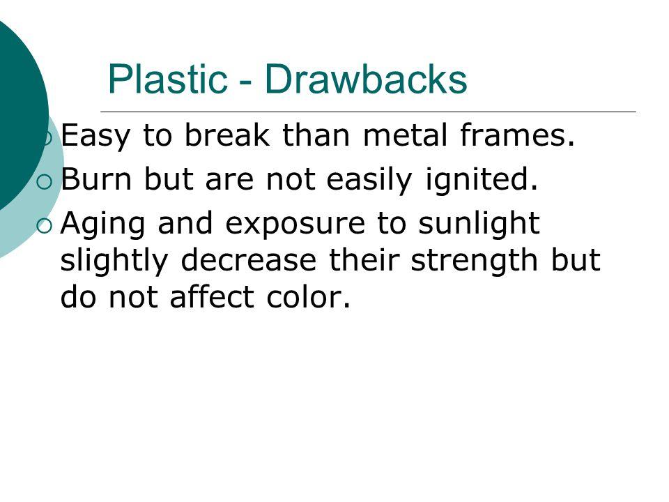 Plastic - Drawbacks Easy to break than metal frames.