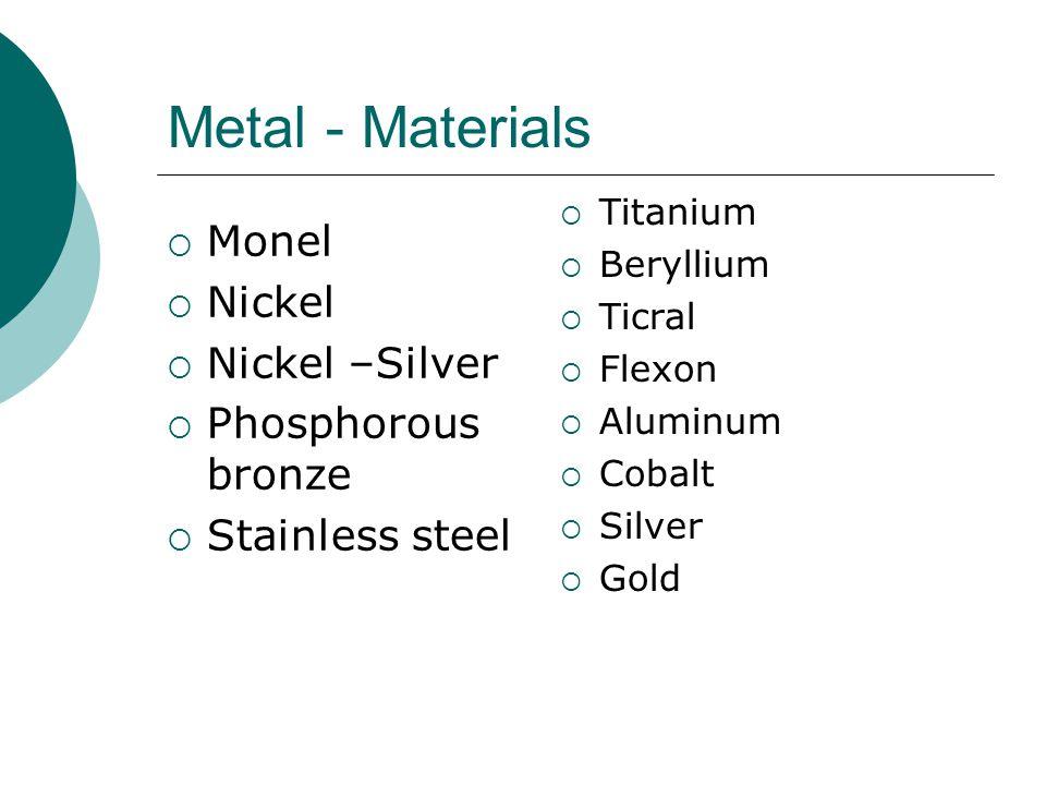 Metal - Materials Monel Nickel Nickel –Silver Phosphorous bronze