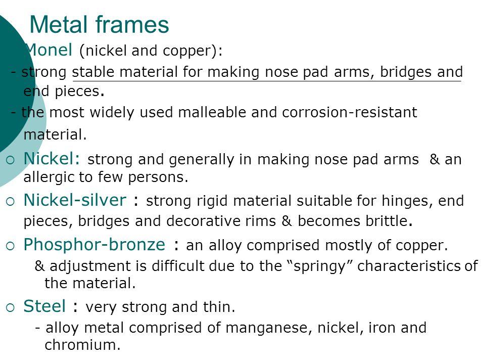 Metal frames Monel (nickel and copper):