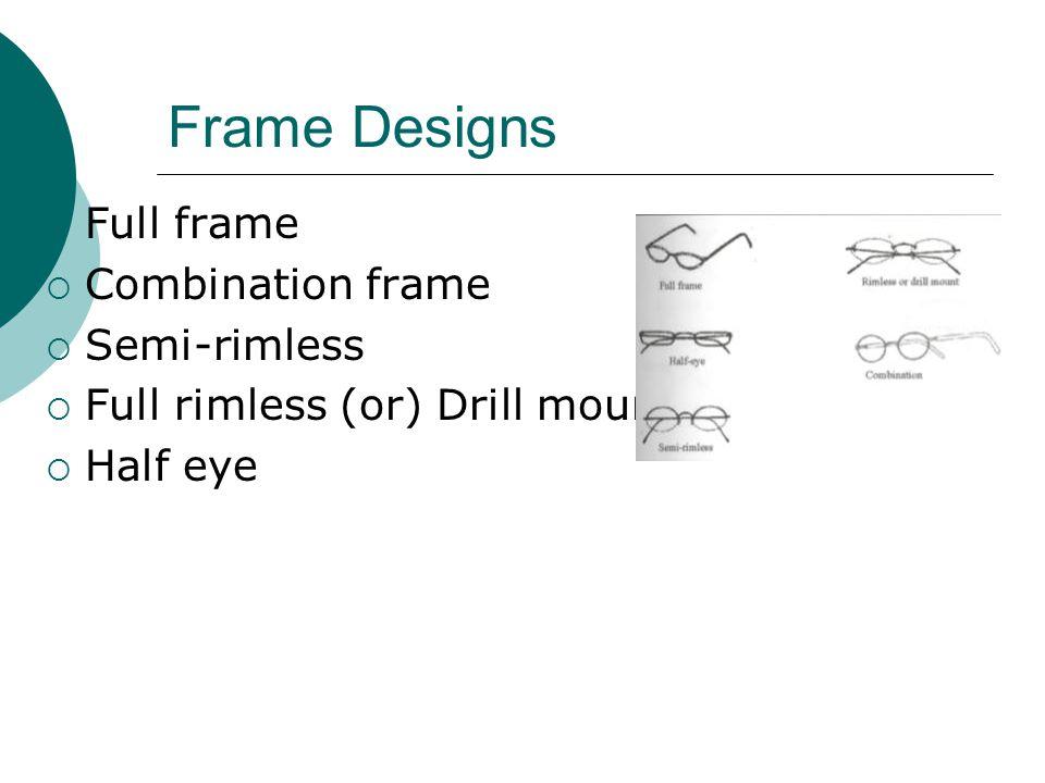 Frame Designs Full frame Combination frame Semi-rimless