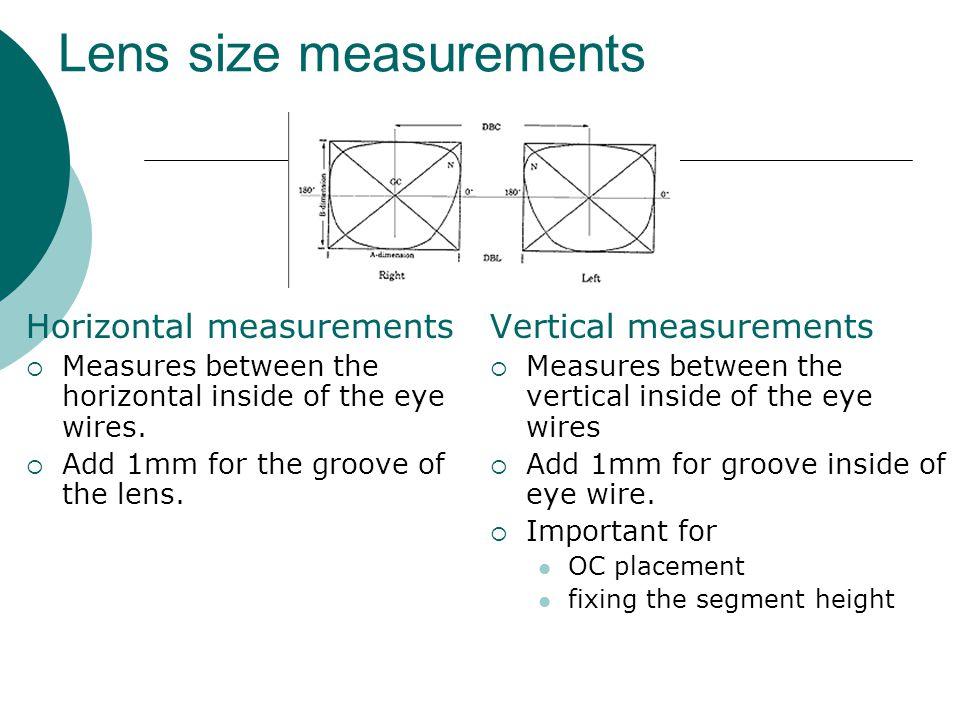 Lens size measurements