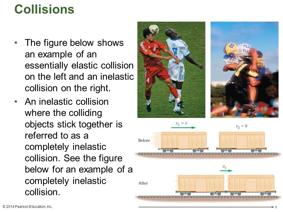 Collisions The figure below shows an example of an essentially elastic collision on the left and an inelastic collision on the right.