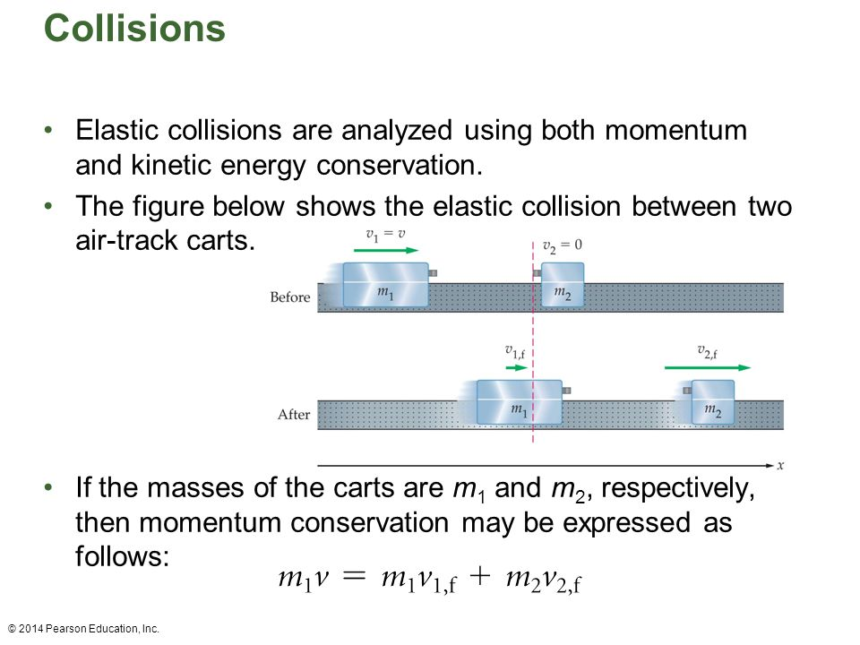 Collisions Elastic collisions are analyzed using both momentum and kinetic energy conservation.
