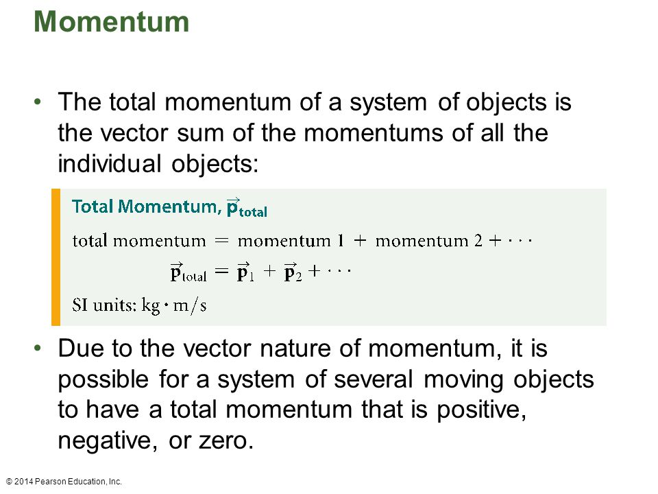 Momentum The total momentum of a system of objects is the vector sum of the momentums of all the individual objects: