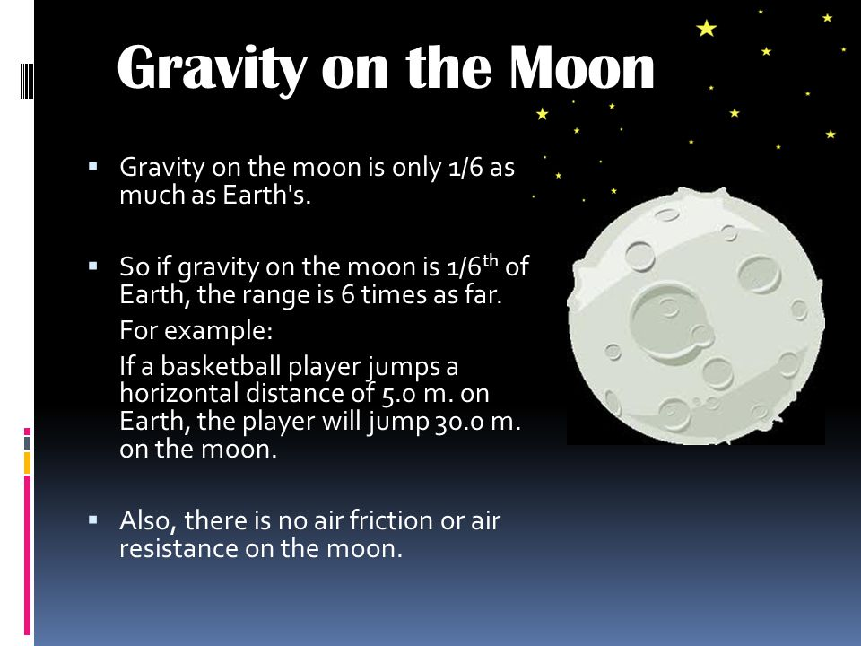Gravity on the Moon Gravity on the moon is only 1/6 as much as Earth s. So if gravity on the moon is 1/6th of Earth, the range is 6 times as far.