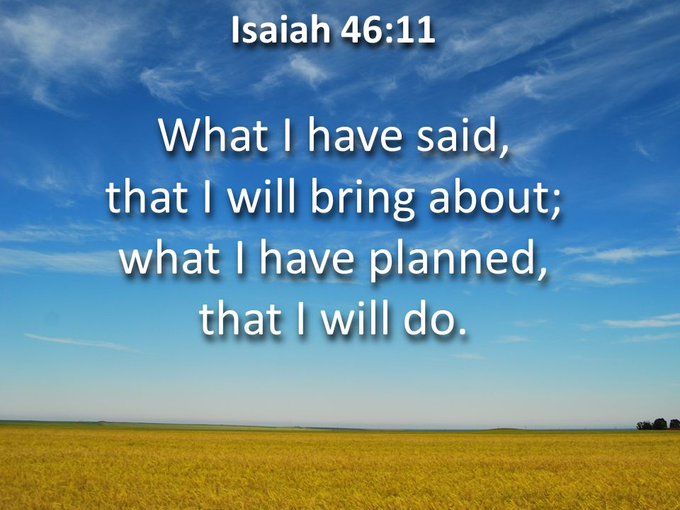 Isaiah 46:11 What I have said, that I will bring about; what I have planned, that I will do.
