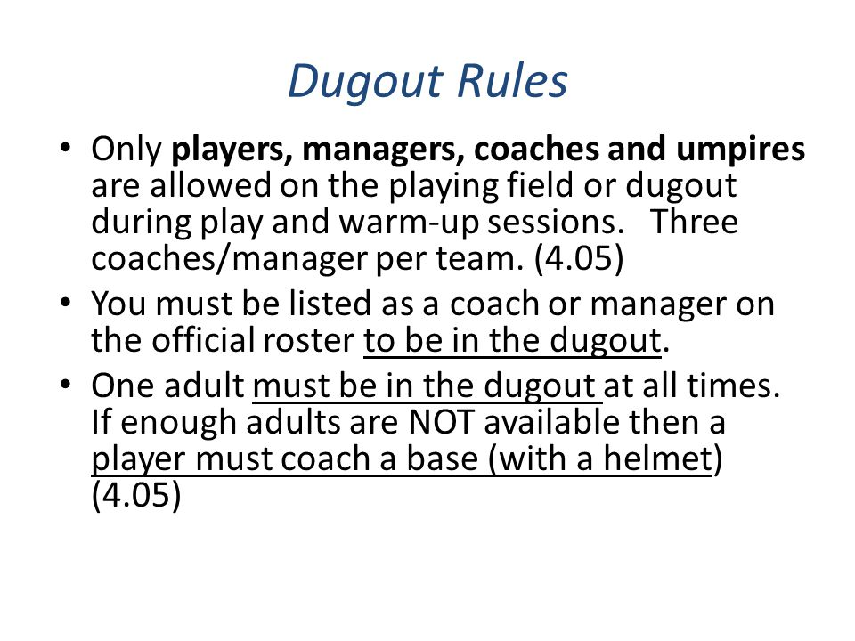 Dugout Rules