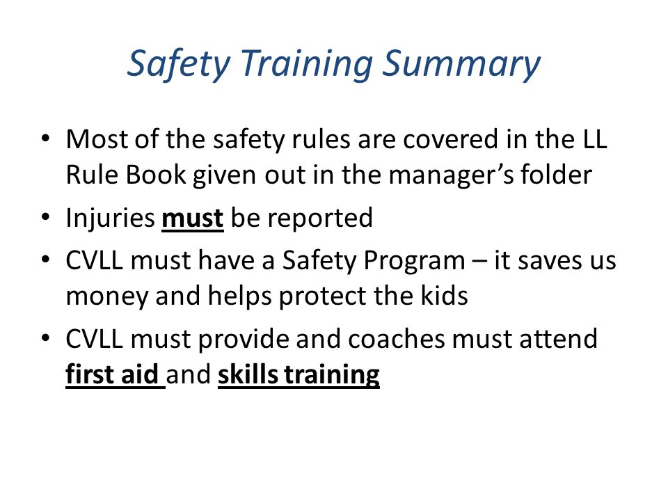 Safety Training Summary