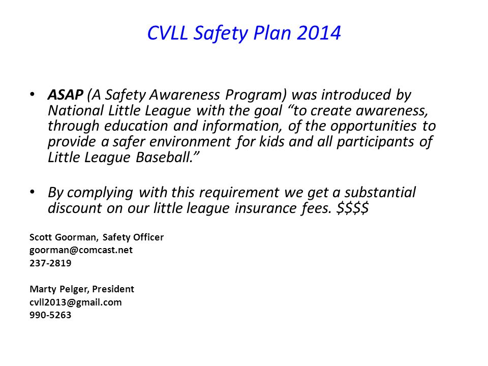 CVLL Safety Plan 2014