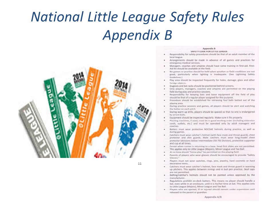 National Little League Safety Rules Appendix B