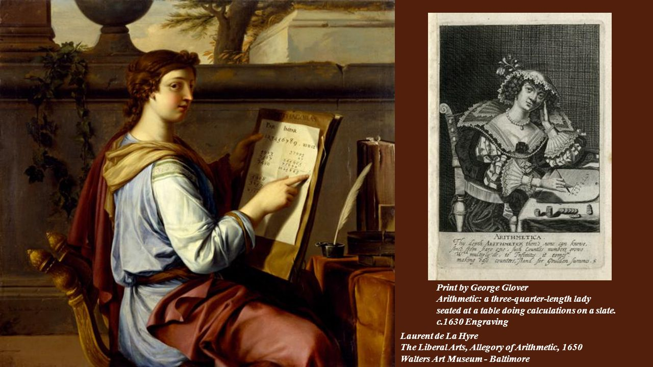 Print by George Glover Arithmetic: a three-quarter-length lady seated at a table doing calculations on a slate. c.1630 Engraving.