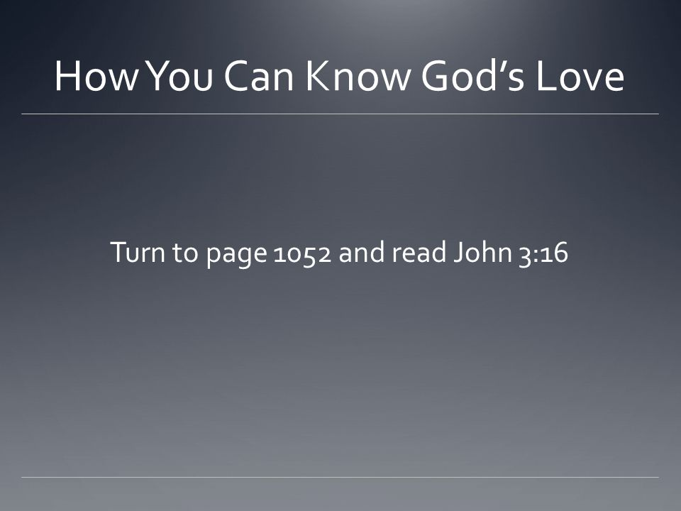 How You Can Know God's Love