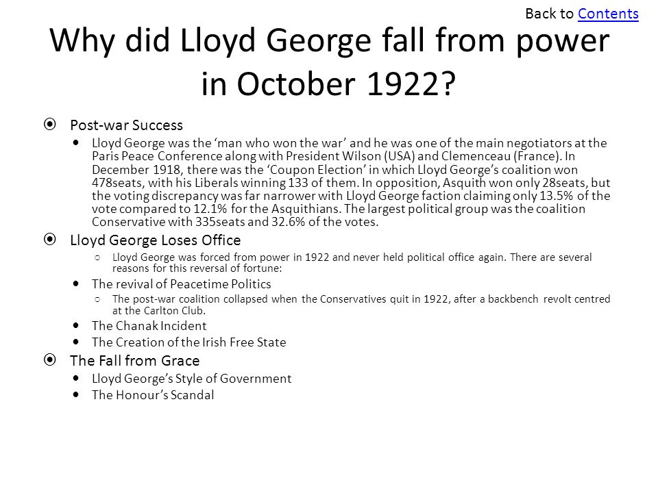 fall of lloyd george essay Essay writing guide asses the most important factors that led to david lloyd george's downfall in 1922 prime minister history: why did lloyd george fall from power in october 1922 but the conservatives, within the.