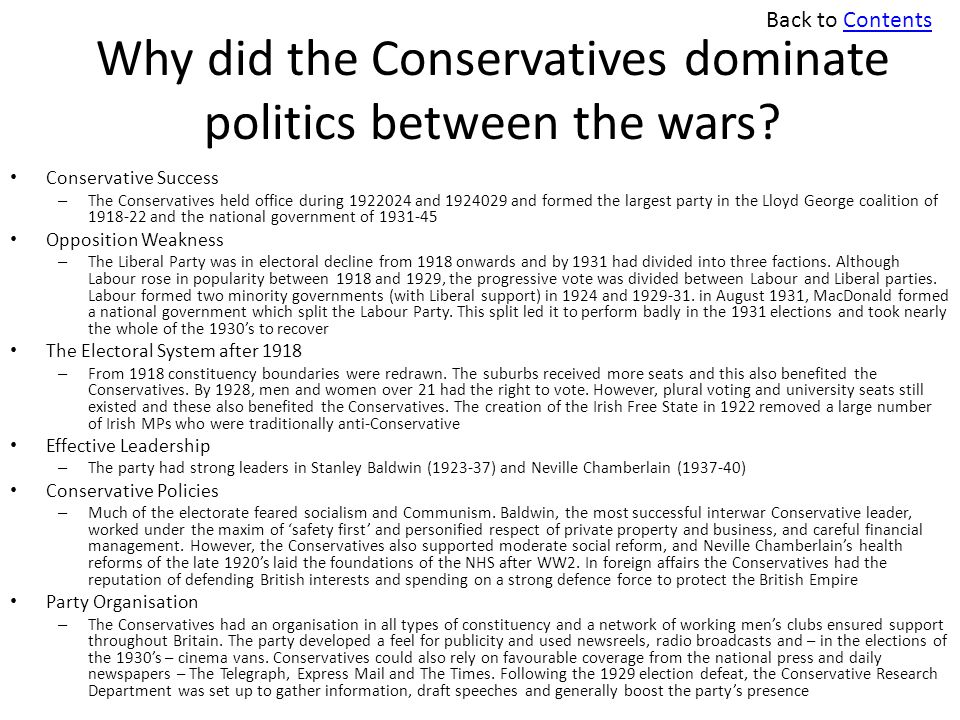 Why did the Conservatives dominate politics between the wars