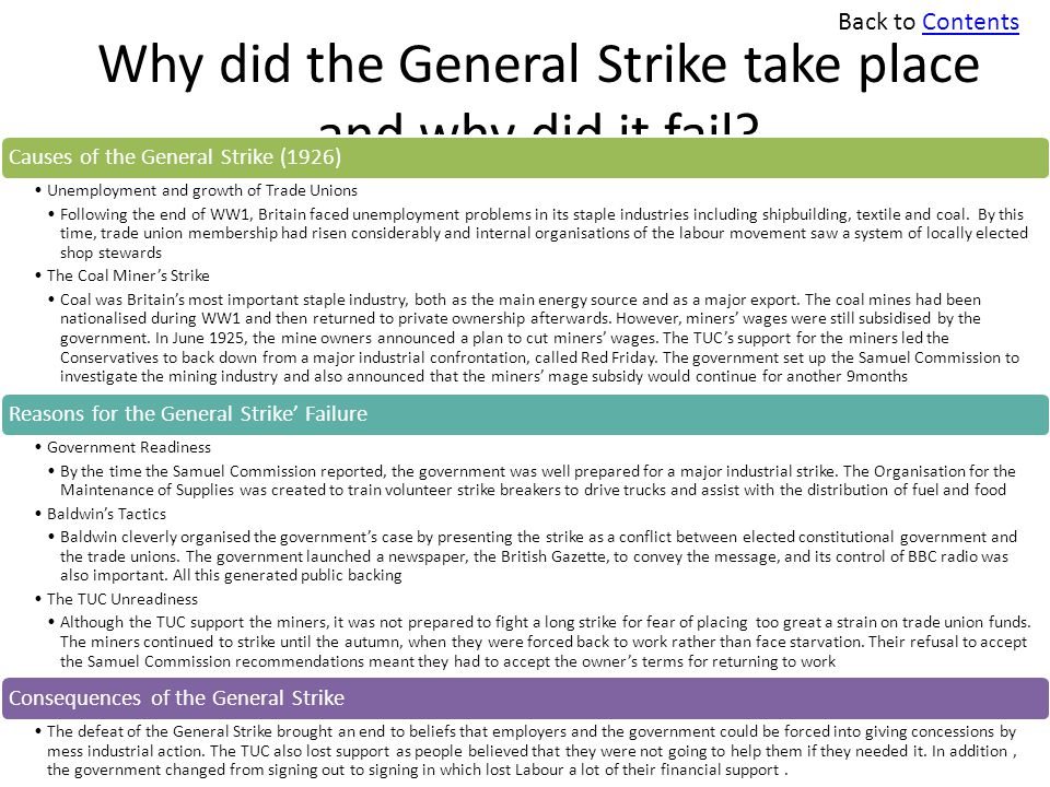 Why did the General Strike take place and why did it fail