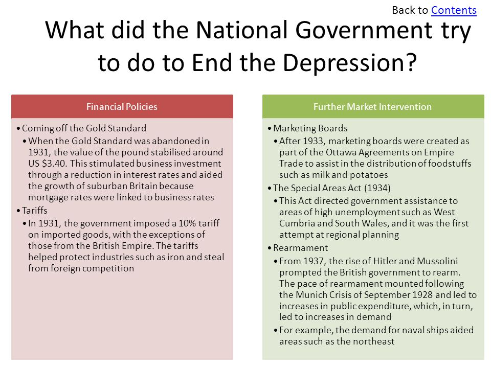What did the National Government try to do to End the Depression