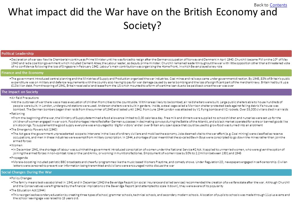 What impact did the War have on the British Economy and Society