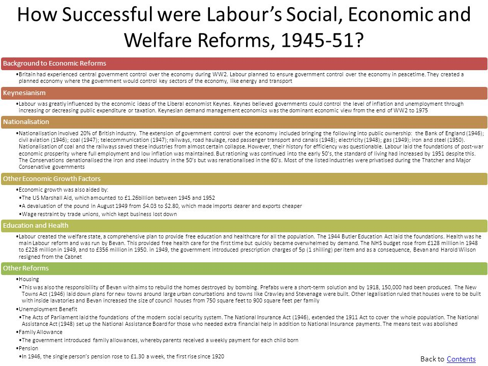 How Successful were Labour's Social, Economic and Welfare Reforms, 1945-51