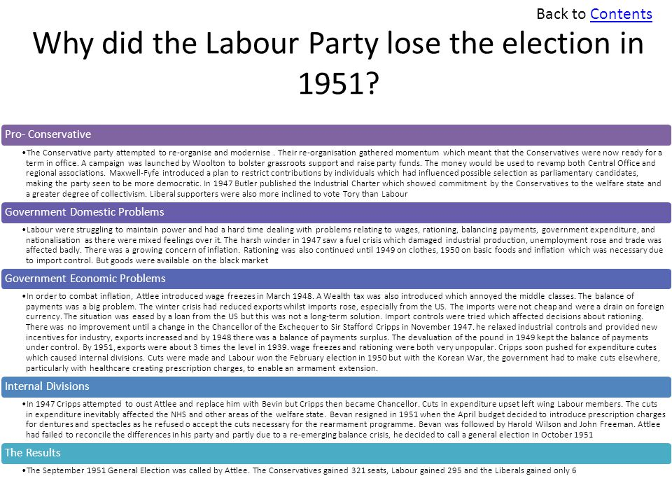 Why did the Labour Party lose the election in 1951