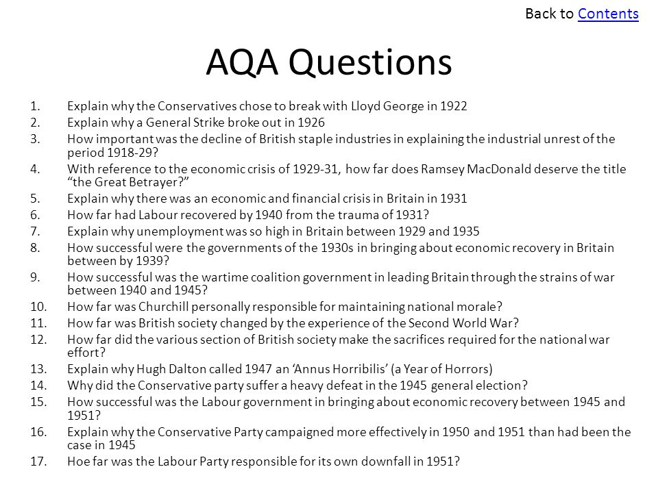 AQA Questions Back to Contents