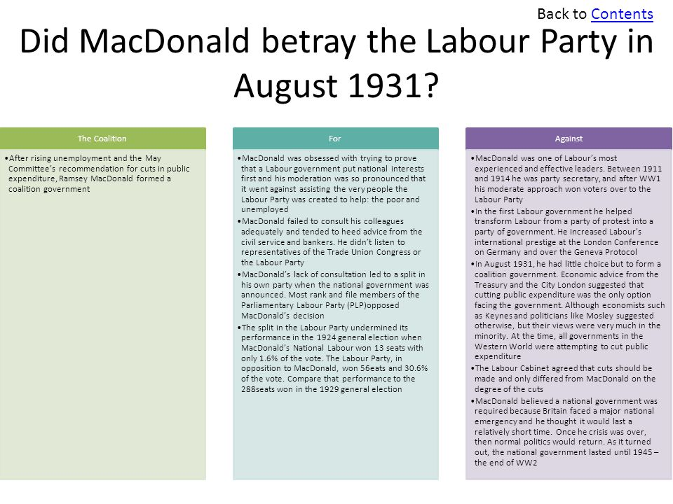 Did MacDonald betray the Labour Party in August 1931