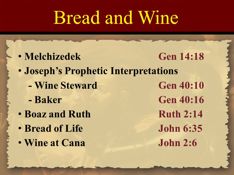 Bread and Wine Melchizedek Gen 14:18
